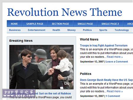 WP Premium Template: Revolution News